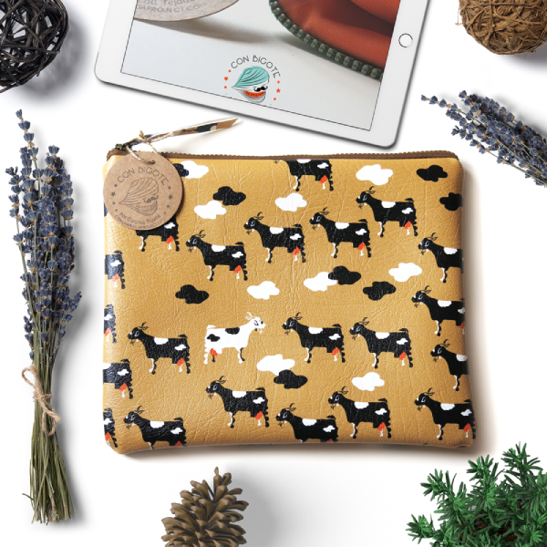 Beige-Vegan-Friendly-Handbag-with-Lanzarotes-Goat-Pattern-Ipad-Sleeve-for-Him-Vegan-Leather-Tablet-Case