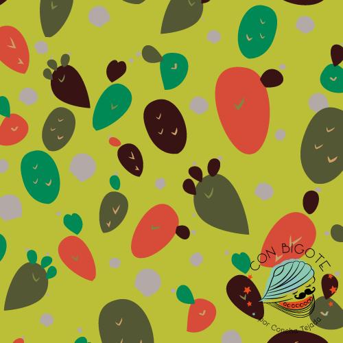 Pattern - Estampado Con Bigote Las Tuneras color guacamole